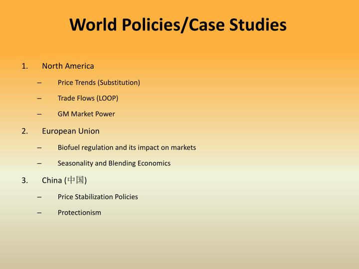 World Policies/Case Studies