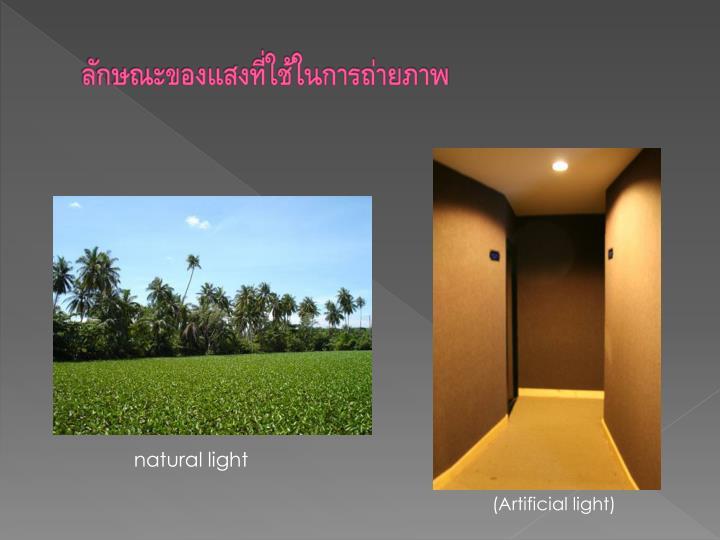 ลักษณะของแสงที่ใช้ในการถ่ายภาพ