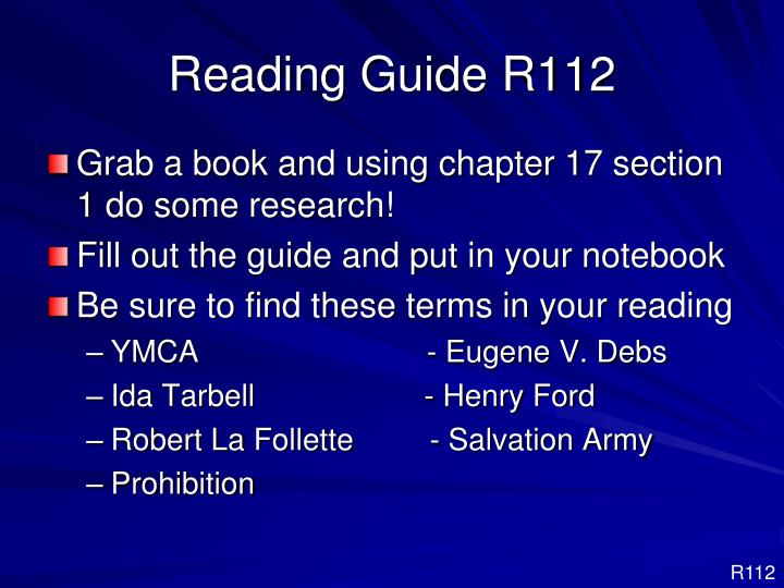 Reading Guide R112
