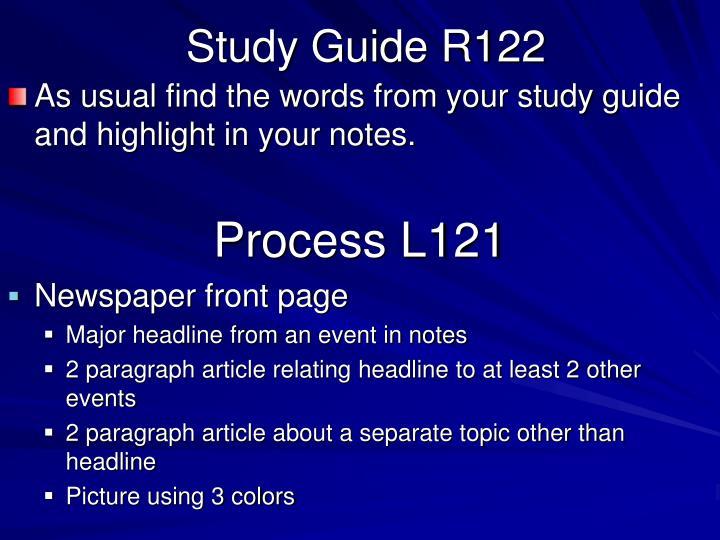 Study Guide R122