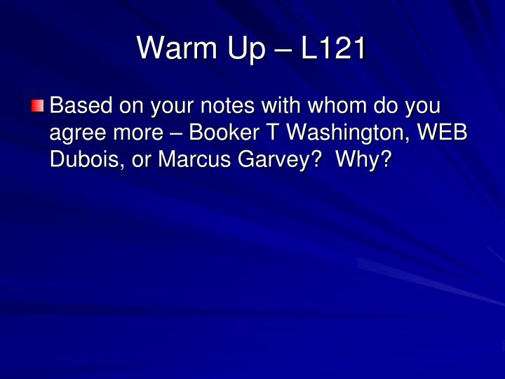 Warm Up – L121