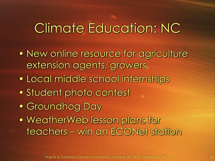 Climate Education: NC