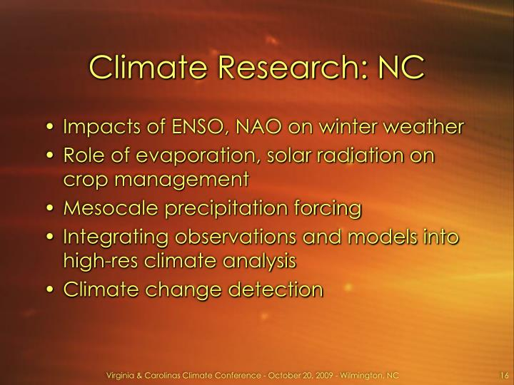 Climate Research: NC