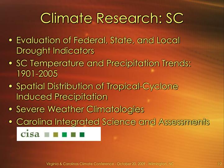 Climate Research: SC