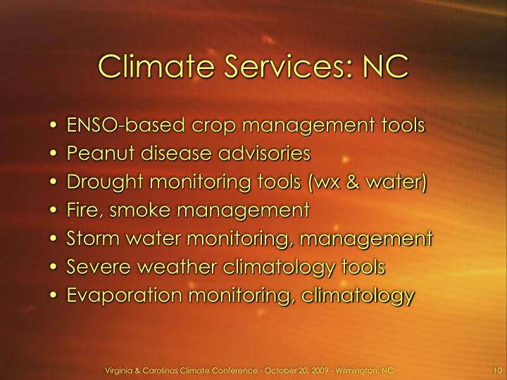 Climate Services: NC