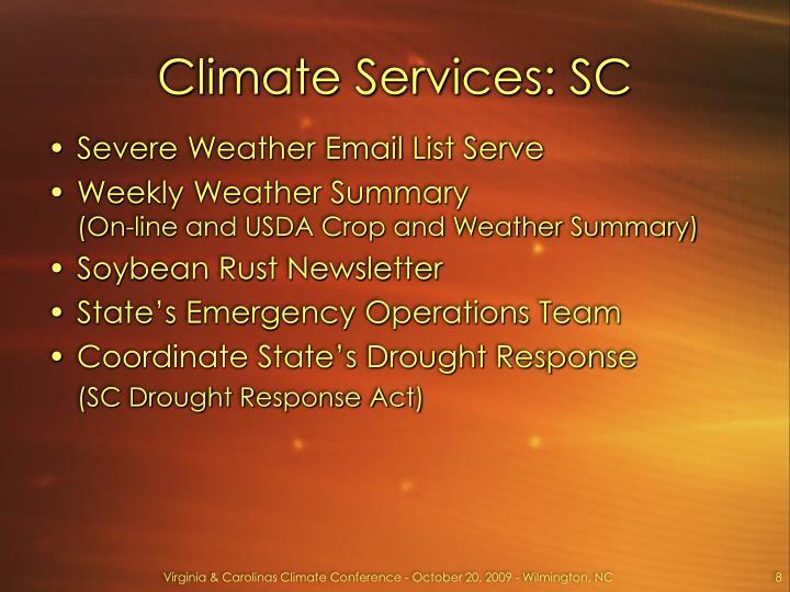 Climate Services: SC
