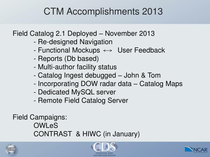 CTM Accomplishments 2013