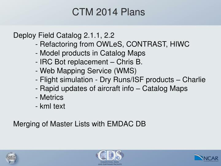 CTM 2014 Plans