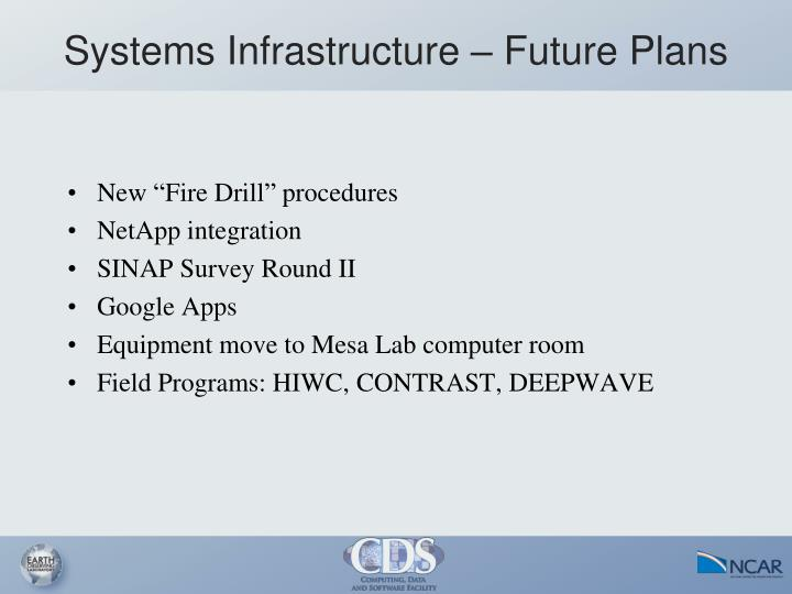 Systems Infrastructure – Future Plans