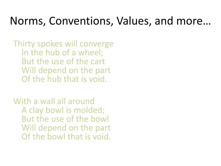 Norms, Conventions, Values, and more…