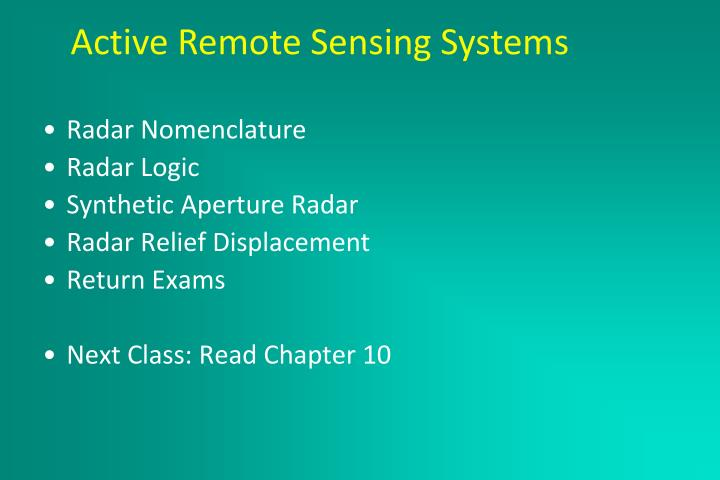 Active remote sensing systems march 2 2005