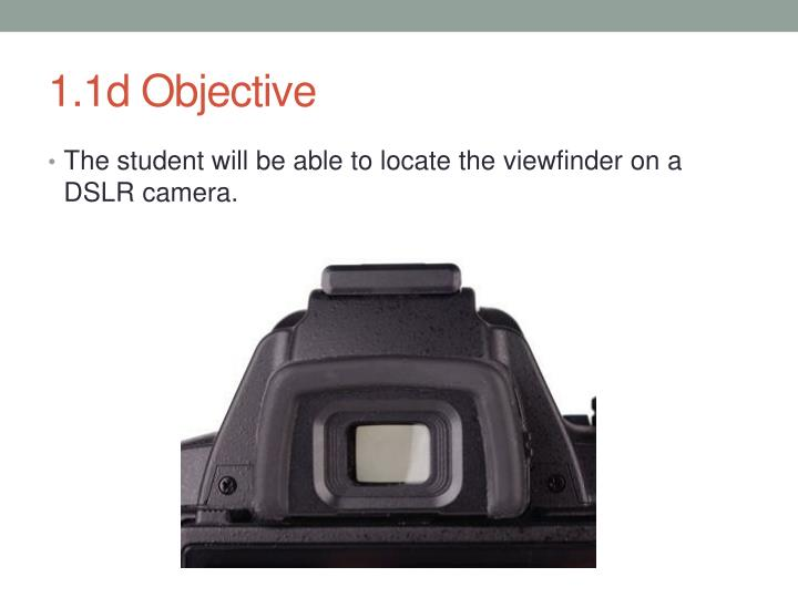 1.1d Objective