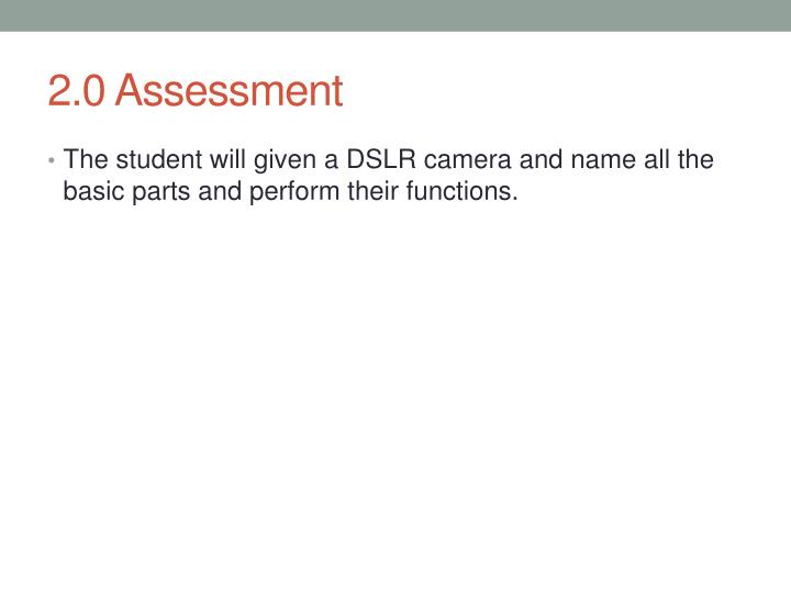 2.0 Assessment