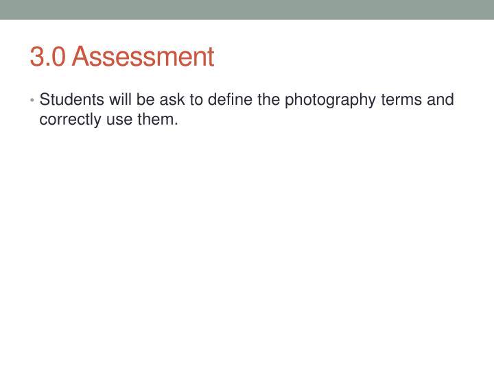 3.0 Assessment
