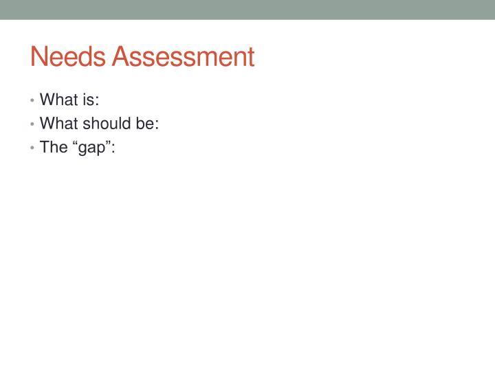 Needs Assessment