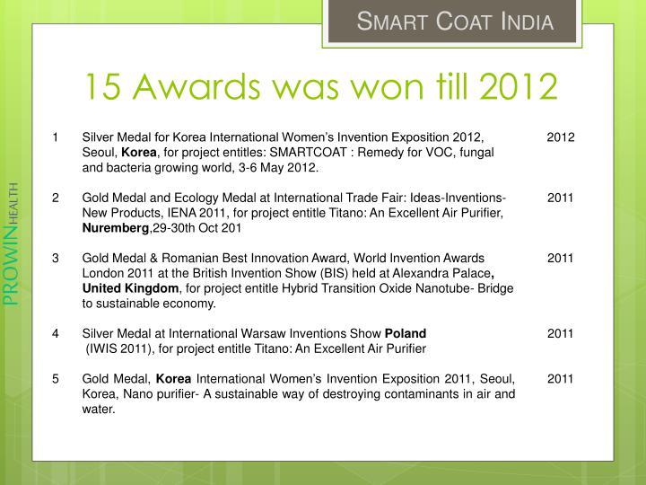15 Awards was won till 2012
