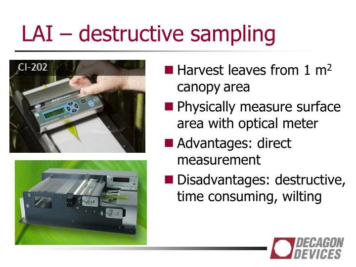 LAI – destructive sampling