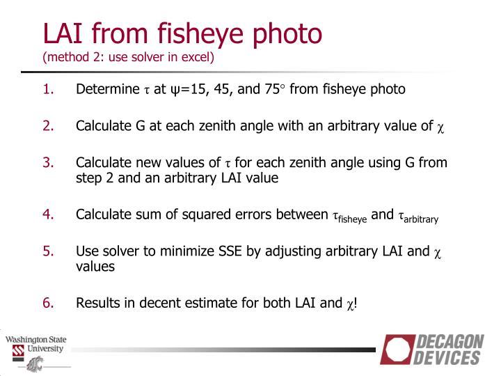 LAI from fisheye photo