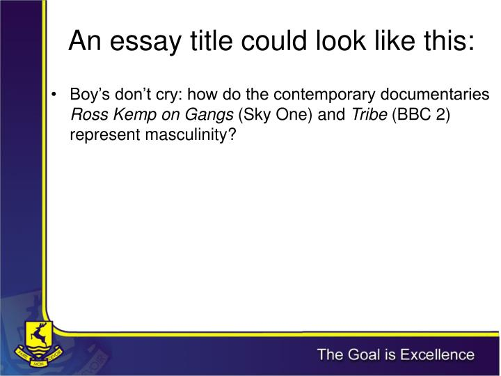 An essay title could look like this: