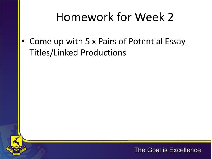 Homework for Week 2