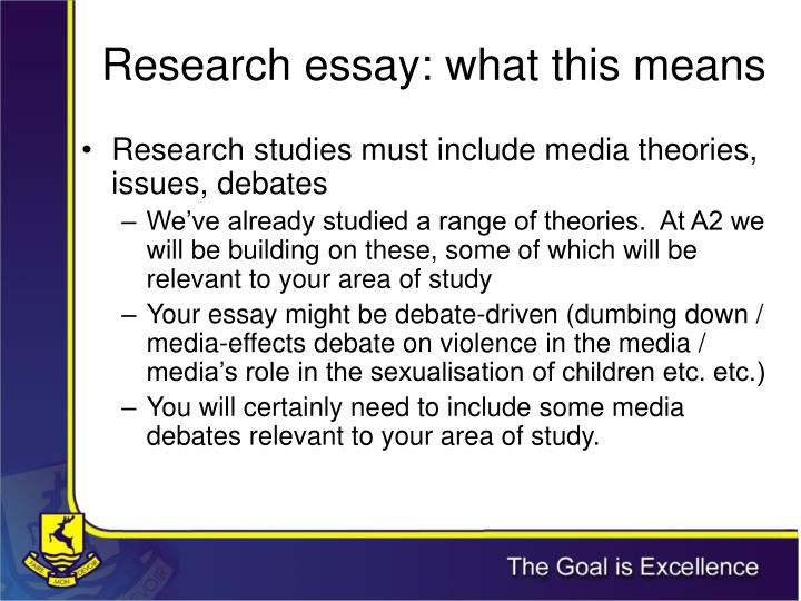 Research essay: what this means