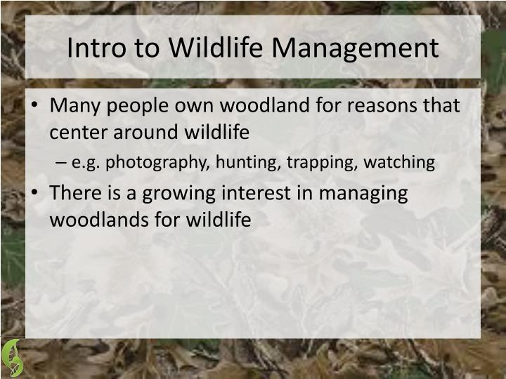 Intro to Wildlife Management