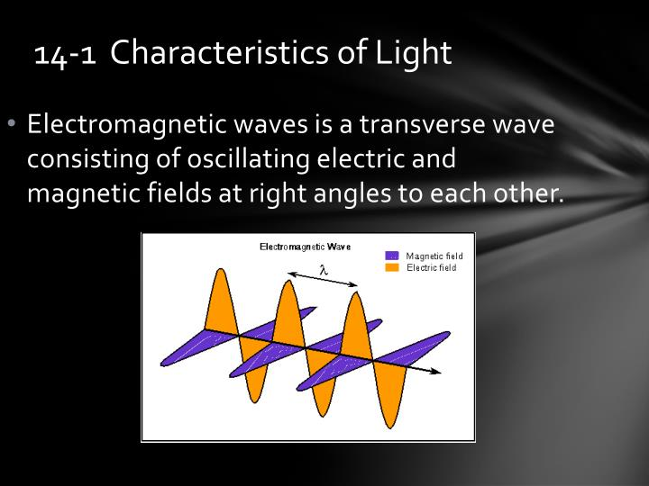 Electromagnetic waves is a transverse wave consisting of oscillating electric and magnetic fields at right angles to each other.