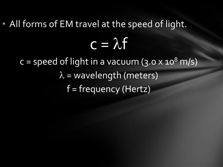 All forms of EM travel at the speed of light.