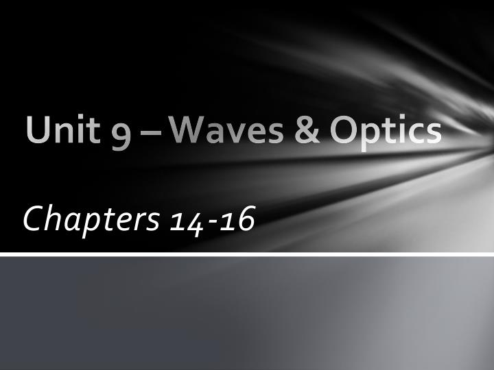 Unit 9 waves optics