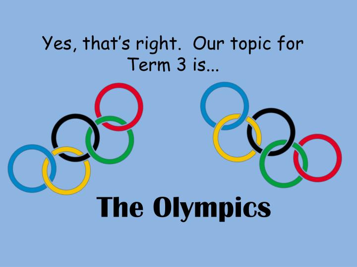 Yes, that's right.  Our topic for Term 3 is...