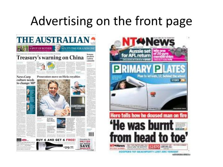 Advertising on the front page