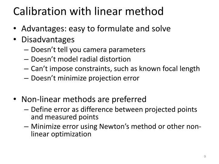 Calibration with linear method