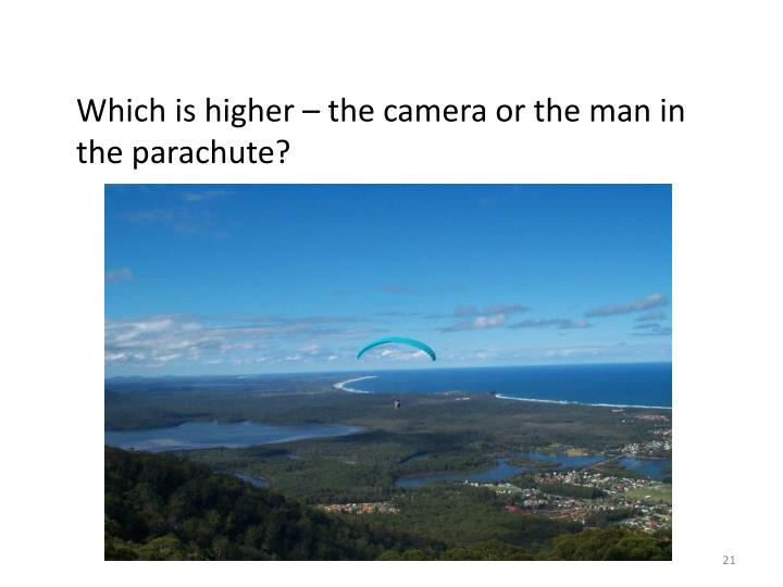 Which is higher – the camera or the man in the parachute?