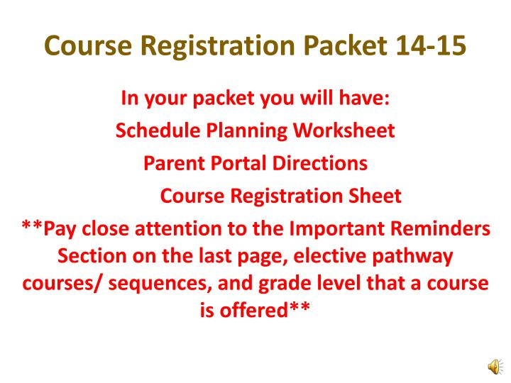 Course Registration Packet 14-15