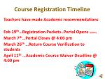 course registration timeline