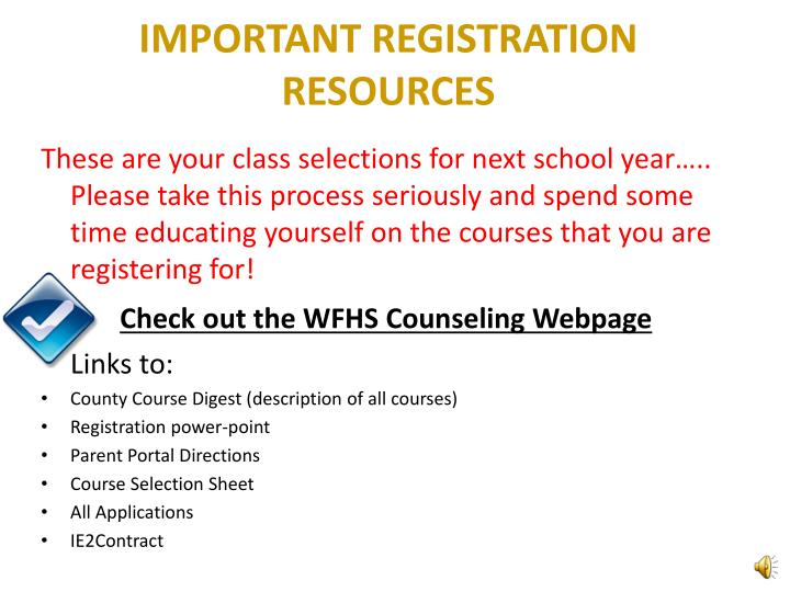 IMPORTANT REGISTRATION RESOURCES