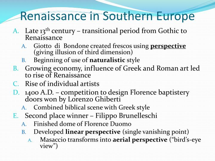 Renaissance in Southern Europe