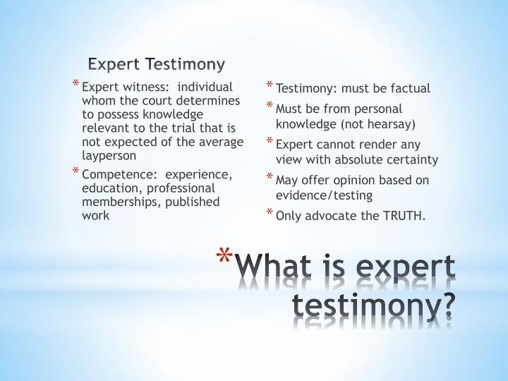 Expert Testimony