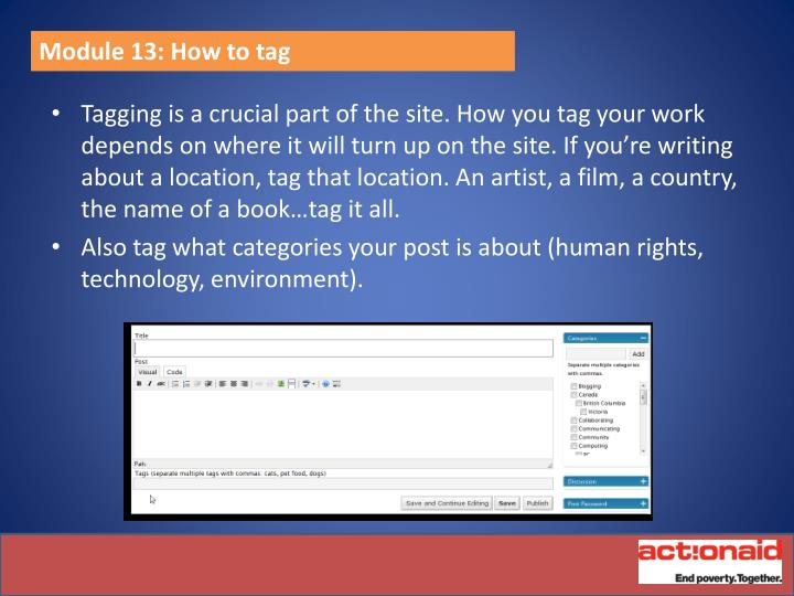 Module 13: How to tag