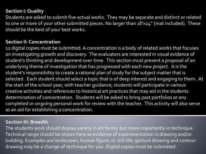 Section I: Quality