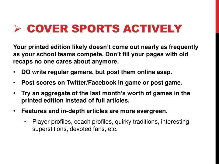 Cover sports actively
