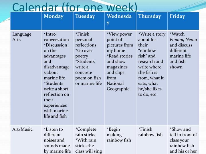 Calendar (for one week)