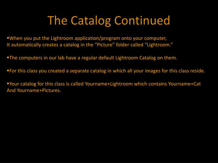 The Catalog Continued