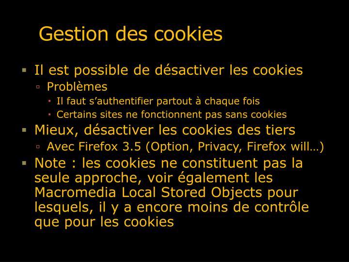 Gestion des cookies