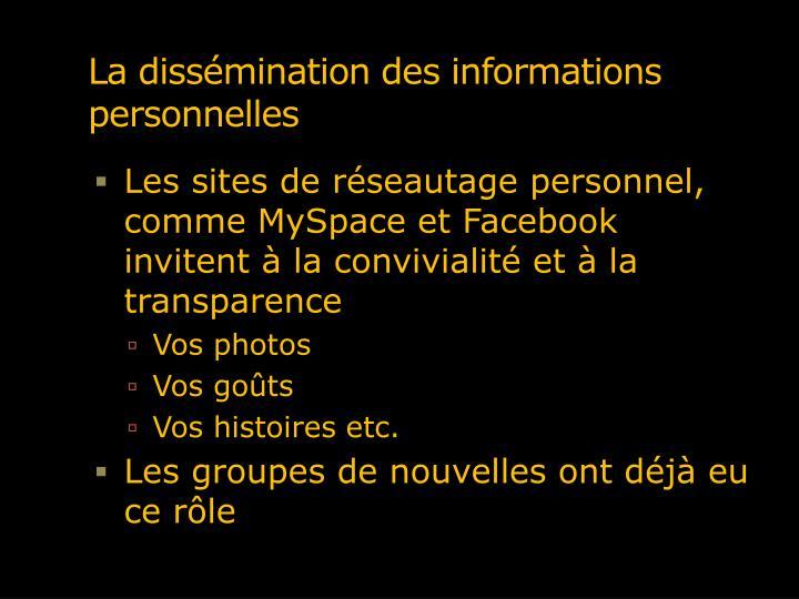 La dissémination des informations personnelles