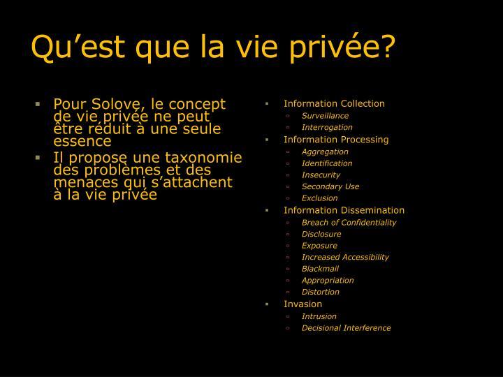 Qu'est que la vie privée?