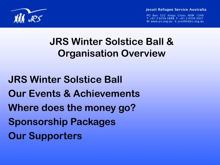 Jrs winter solstice ball organisation overview
