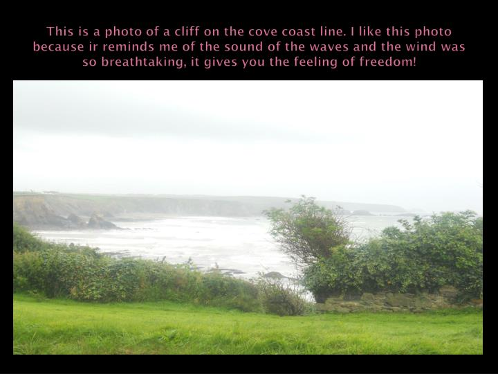 This is a photo of a cliff on the cove coast line. I like this photo because