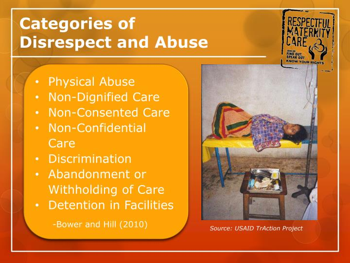 Categories of disrespect and abuse