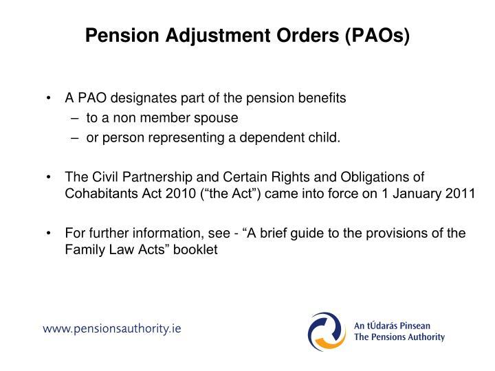 Pension Adjustment Orders (